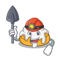 Miner cinnamon roll mascot cartoon vector