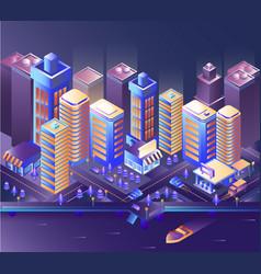 modern city night modern city night isometry vector image