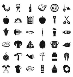 nature barbecue icons set simple style vector image