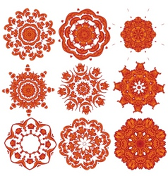 orange embroidery vector image