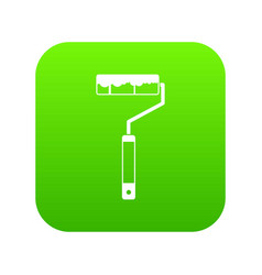 paint roller icon digital green vector image