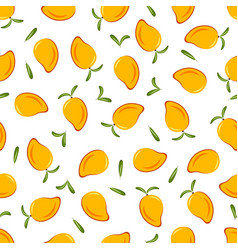 pattern with mango and leaves vector image