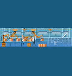people working with robots on conveyor line vector image