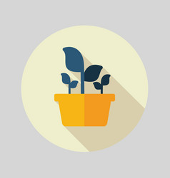 Plant in pot flat icon garden flowerpot vector