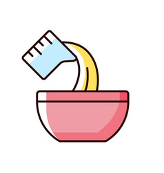 Pour cooking ingredient rgb color icon vector