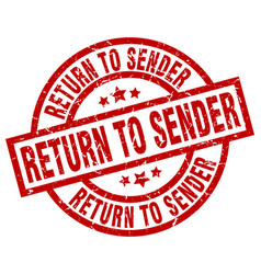 Return to sender round red grunge stamp vector