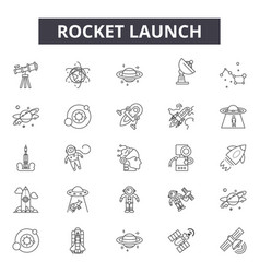 rocket launch line icons signs set vector image