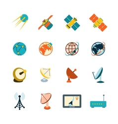 Satellite icons set vector image