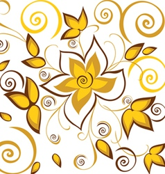 seamless background with gold flowers vector image