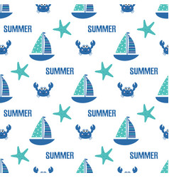 seamless pattern sailing ship fish vector image