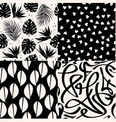 Set black seamless patterns abstract graphic vector