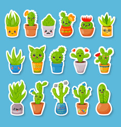 set of 16 cute cartoon cactus and succulents vector image