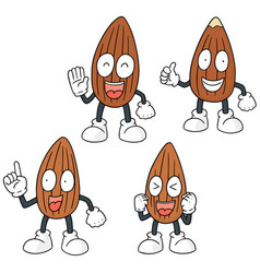 Set of almond cartoon vector