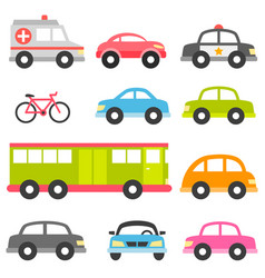 set of different toy cars isolated on white vector image