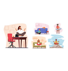 Set tranquil woman meditating at home and vector