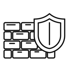 Shield firewall icon outline style vector