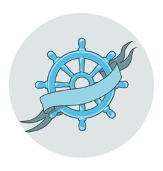 Ship wheel banner isolated whit ribbon vector