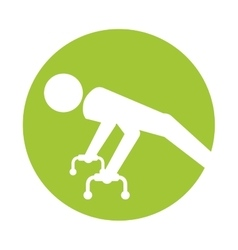 Silhouette sportman gymnastic pommel horse vector