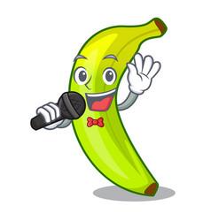 Singing a organic fruit green banana cartoon vector