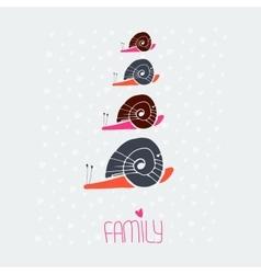 Snail family love card vector