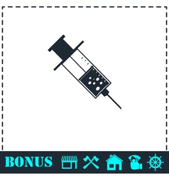 Syringe icon flat vector image vector image