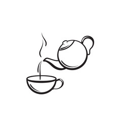 teapot and cup hot drink preparation icon vector image
