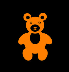teddy bear sign orange icon on black vector image