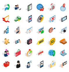Telecom icons set isometric style vector