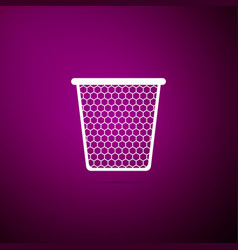 trash can icon isolated on purple background vector image