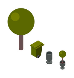 Trees and trashcan isometric vector