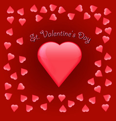 valentine s day greeting card on red background vector image