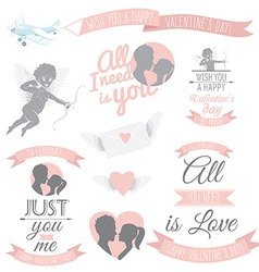 Valentines Day greeting card set vector image