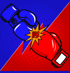 Versus boxing gloves on pop art style background vector
