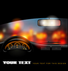 View from inside car on night city lights vector