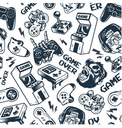 vintage gaming seamless pattern vector image