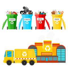 Waste recycling garbage process factory vector