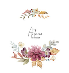 Watercolor wreath with burgundy autumn vector