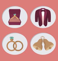 wedding day icons cartoon vector image