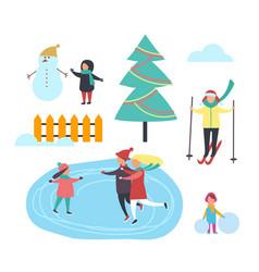 winter season kid with snowman people set vector image