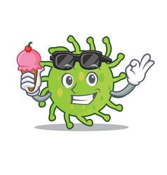 With ice cream green bacteria character cartoon vector