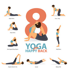 Yoga poses for happy back in flat design vector