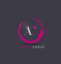 ac letter logo circular purple splash brush vector image vector image