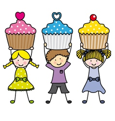 Children with some muffins vector image vector image