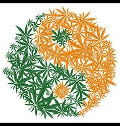 Colorful marijuana design Yin Yang cannabis leaf vector image