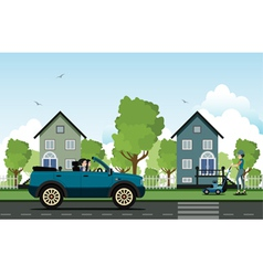 Driving in the countryside vector