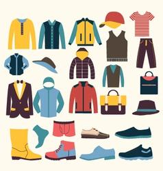 icons set of Fashion elements men clothes vector image