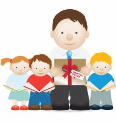 teacher and gift vector image vector image