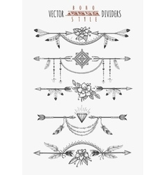 Arrow feather page dividers vector
