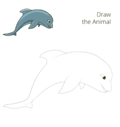 Draw the fish animal dolphin educational game vector