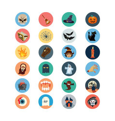Flat Halloween Icons 1 vector image vector image